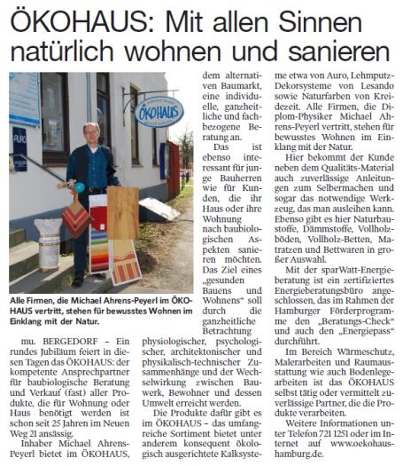 Ein Artikel aus der Bergedorfer Zeitung über das ÖKOHAUS in Hamburg